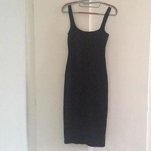 Simple, black, cotton/spandex, midi dress.